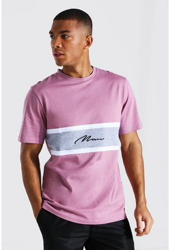 Mauve Man Signature Colour Block T-shirt