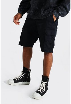 Black Fixed Waist Band Cargo Short