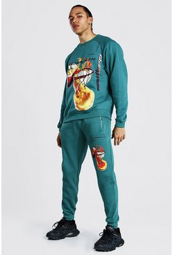 Green Tall Official Man Basketball Print Tracksuit