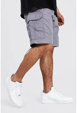 Charcoal Fixed Waist Band Cargo Short