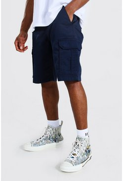 Navy Fixed Waist Band Cargo Short