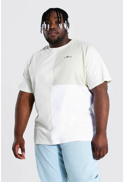 Ecru Plus Size Man Script Colour Block T-shirt