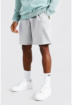 Grey marl Basic Mid Length Loose Jersey Shorts