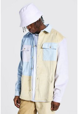 Multi Heavyweight Cord Colour Block Overshirt