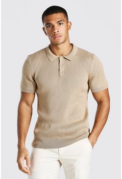 Camel Short Sleeve Slim Fit Ribbed Knit Polo