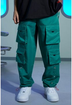 Sage Regular Popper Cargo Trousers