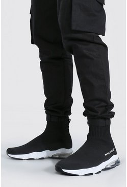 Black Man Knitted Sock Trainer With Bubble Sole