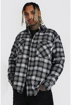 Black Oversized Back Print Check Shirt With Man Tab