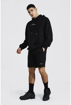 Man Signature Short Hooded Tracksuit, Black