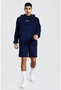 Man Signature Short Hooded Tracksuit, Navy