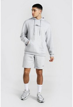 Man Signature Short Hooded Tracksuit, Grey marl