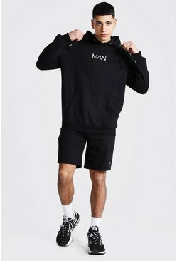 Original Man Short Hooded Tracksuit, Black