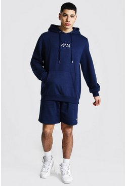 Original Man Short Hooded Tracksuit, Navy