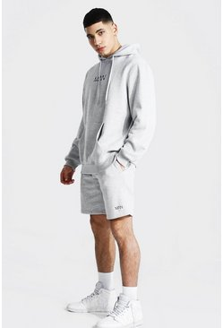 Original Man Short Hooded Tracksuit, Grey marl
