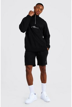 Man Signature Half Zip Short Tracksuit, Black