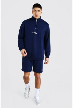 Navy Man Signature Half Zip Short Tracksuit