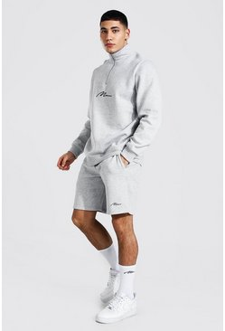Man Signature Half Zip Short Tracksuit, Grey marl