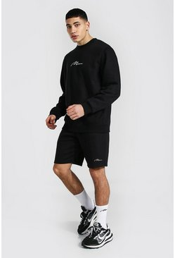 Man Signature Sweater Short Tracksuit, Black