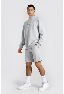 Man Signature Sweater Short Tracksuit, Grey marl