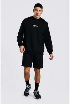Original Man Sweater Short Tracksuit, Black