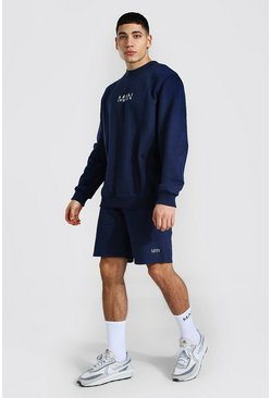 Original Man Sweater Short Tracksuit, Navy