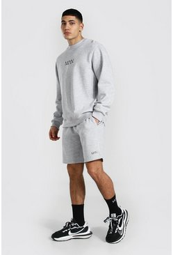 Original Man Sweater Short Tracksuit, Grey marl