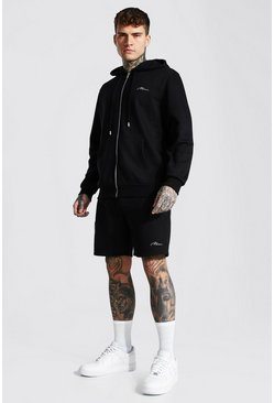 Man Signature Zip Hooded Short Tracksuit, Black