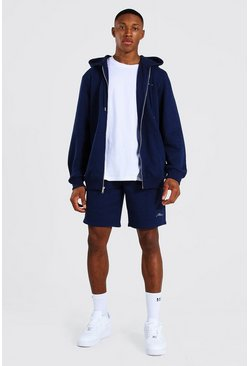 Man Signature Zip Hooded Short Tracksuit, Navy