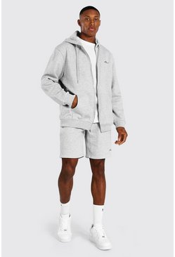 Man Signature Zip Hooded Short Tracksuit, Grey marl