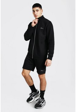 Man Signature Funnel Neck Short Tracksuit, Black