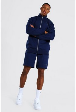 Man Signature Funnel Neck Short Tracksuit, Navy