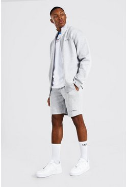 Man Signature Funnel Neck Short Tracksuit, Grey marl
