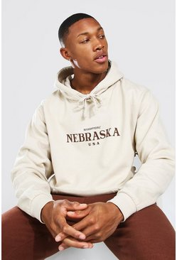 Sand Oversized Man Official Nebraska Print Hoodie