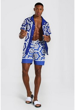 Blue Short Sleeve Revere Border Shirt And Swim Set