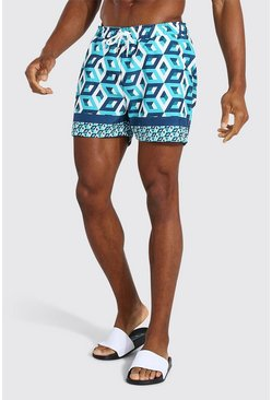 Blue Geometric Border Short Length Swim Short