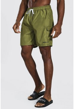 Light khaki Official Man Cargo Mid Length Swim Short