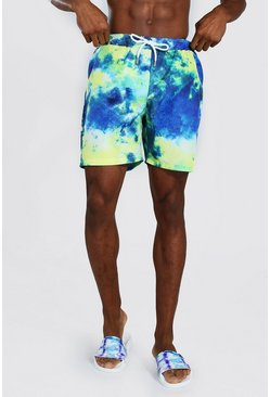 Blue Tie Dye Mid Length Swim Short