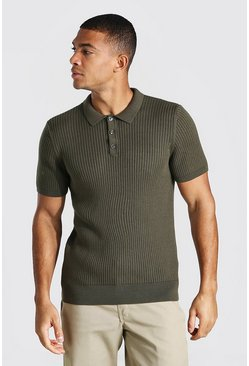 Khaki Short Sleeve Slim Fit Ribbed Knit Polo