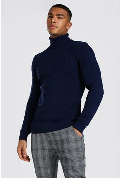 Navy Cable Knit Turtleneck Sweater