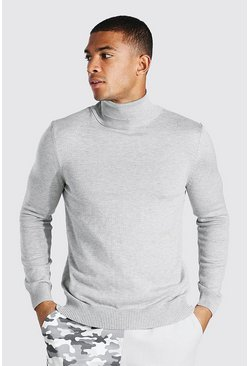 Grey marl Roll Neck Jumper