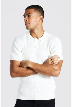 Cream Short Sleeve Slim Fit Ribbed Knit Polo