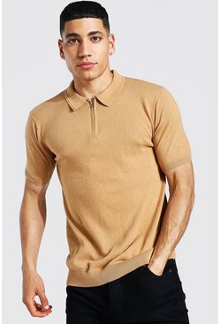 Camel Short Sleeve Half Zip Knitted Polo