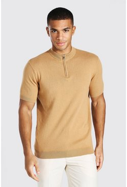 Camel Short Sleeve Half Zip Turtle Neck Jumper