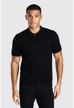 Black Short Sleeve Half Zip Knitted Polo