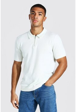Ecru Short Sleeve Half Zip Knitted Polo