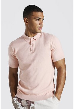 Pink Short Sleeve Knitted Polo