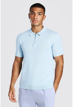 Blue Short Sleeve Half Zip Knitted Polo