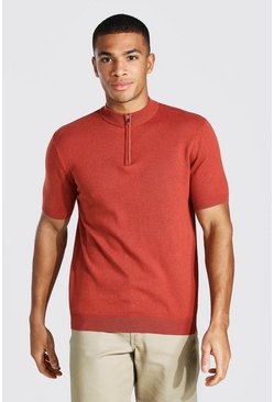 Rust Short Sleeve Half Zip Turtle Neck Jumper