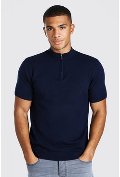 Navy Short Sleeve Half Zip Turtle Neck Jumper