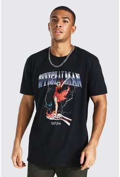 Black Oversized Official Man Graphic Print T-shirt